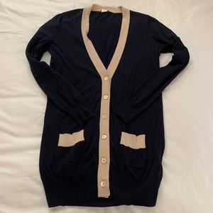 J.Crew Long Navy Fitted Cardigan